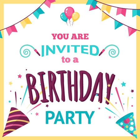 Birthday party invitation template with holiday decoration elements vector illustration Illustration
