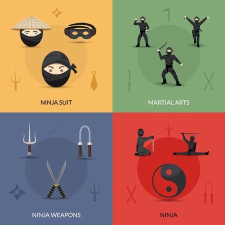 arte marcial: Ninja concepto de dise�o conjunto con traje de armas y artes marciales iconos planos aislados ilustraci�n vectorial