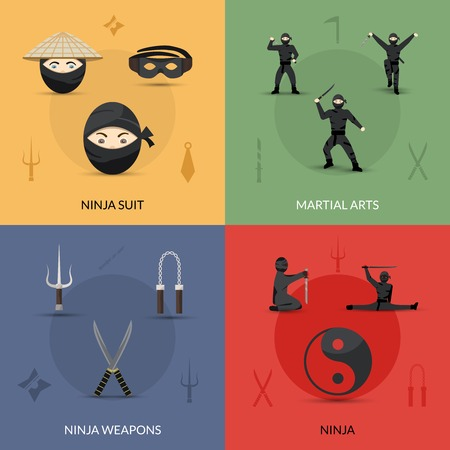 arts abstract: Ninja design concept set with suit weapon and martial arts flat icons isolated vector illustration