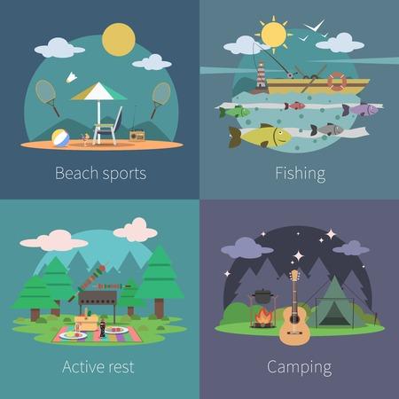 acampar: Concepto de diseño de verano conjunto con iconos planos para acampar activa la pesca deportiva de playa aislada ilustración vectorial