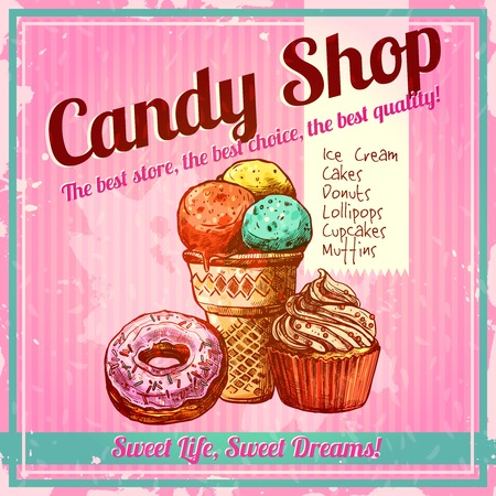 donut shop: Vintage candy shop poster with sketch donut ice cream and cupcake on textured background vector illustration
