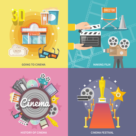 film projector: Historical cinema festival movie theater entrance tickets set 4 flat icons square composition abstract isolated vector illustration
