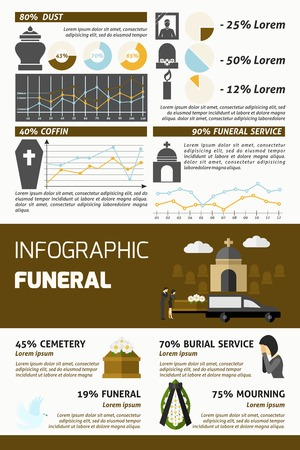 Funeral infographics set with burial ceremony symbols and charts vector illustration