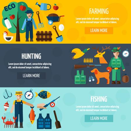 cazador: Cazador pescador y agricultor con conjunto de banner horizontal accesorios plana aislado ilustración vectorial
