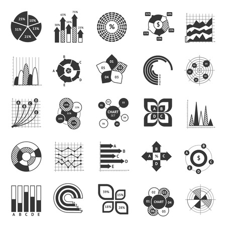 scatter: Business chart black and white set with pie scatter bar diagrams icons isolated vector illustration Illustration