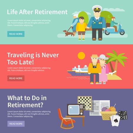 retirement couple: Pensioners life horizontal banner set with retirement enetertainment flat elements isolated vector illustration