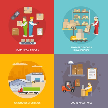 Warehouse design concept set with goods acceptance and storage flat icons isolated vector illustration