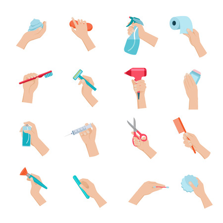 hand holding: Hand holding household objects and hygiene accessories icons set flat isolated vector illustration