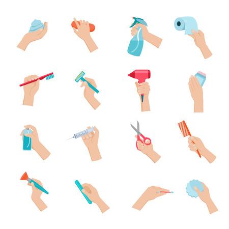 Une main tenant des objets ménagers et accessoires d'hygiène icons set plat isolé illustration vectorielle Banque d'images - 41896232