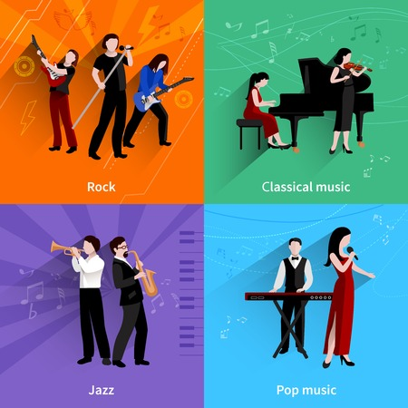 clarinet player: Musicians design concept set with pop rock jazz classical music players flat icons isolated vector illustration