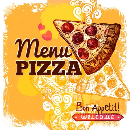 food dish: Fast food restaurant menu cover template with hand drawn pizza slice vector illustration Illustration