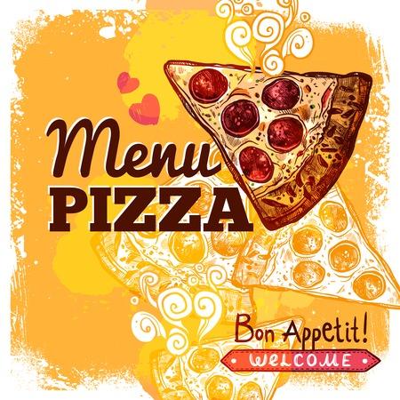 comida rapida: Restaurante de comida rápida Plantilla de la cubierta del menú con dibujado a mano ilustración de pizza rebanada vector