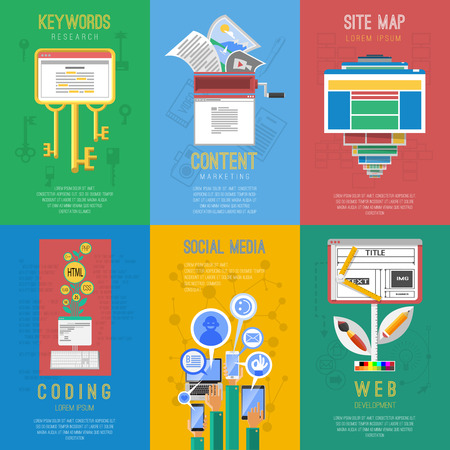 keywords: Seo search engine keywords optimization coding 6 flat icons for social media composition poster abstract vector illustration