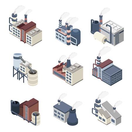 carbone: Buldings industriali icone isometriche set con piante 3d e fabbriche illustrazione vettoriale isolato Vettoriali