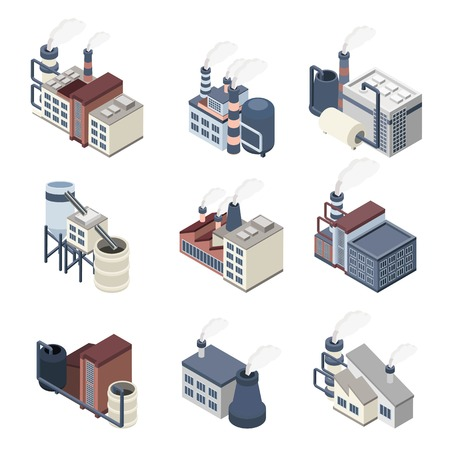 pollution: Industrial buldings isometric icons set with 3d plants and factories isolated vector illustration