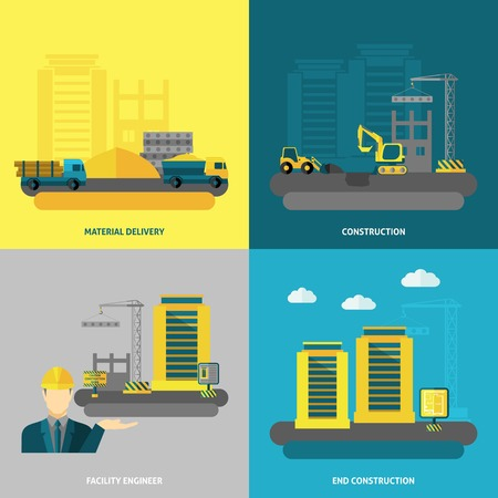 facility: Construction design concept set with material delivery and facility engineer flat icons isolated vector illustration