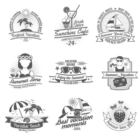 Summer time and vacation with beaches cafes and yacht club black white labels set flat isolated vector illustration