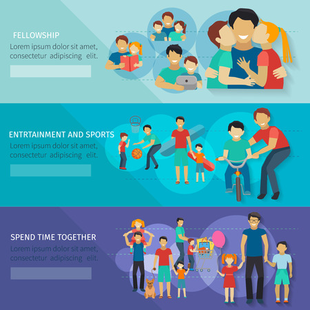 Fatherhood horizontal banner set with father and child sports and entertainment isolated vector illustration Illustration
