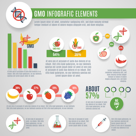 genetic modification: Gmo infographics set with nanotechnology laboratory food elements and charts vector illustration