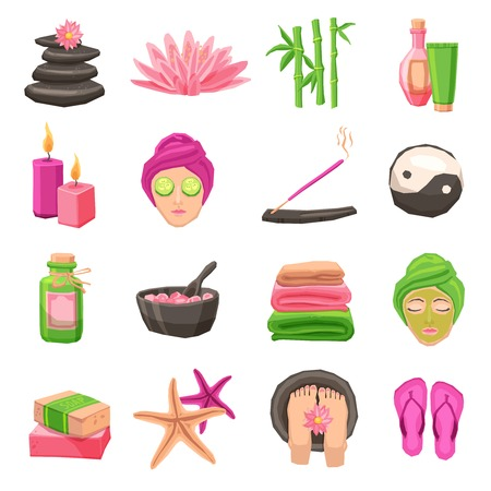 beauty therapist: Spa and body therapy decorative icons set with isolated vector illustration