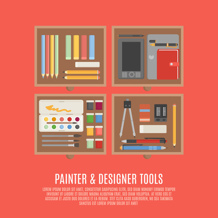 inc: Painter and designer digital and manual tools in drawers flat color concept vector illustration