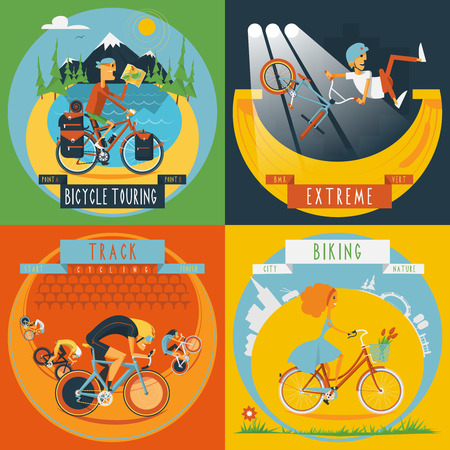 poster designs: Extreme track cycling and city road bike tour 4 flat icons composition banner abstract isolated vector illustration