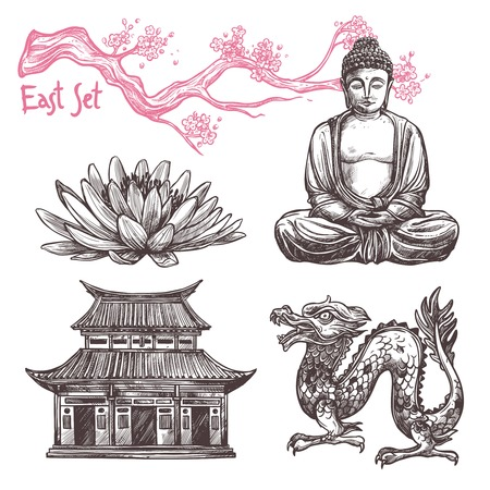 chinese buddha: Asian sketch set with lotus buddha dragon sakura branch isolated vector illustration