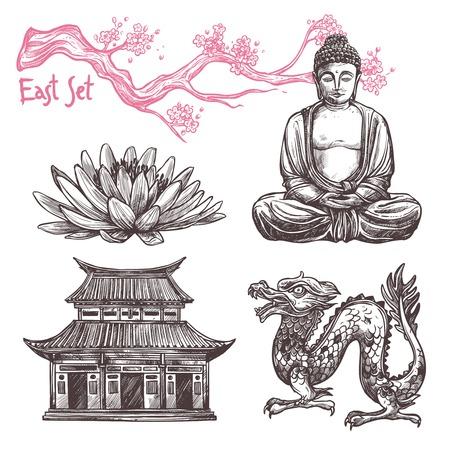 Aziatische schets set met geïsoleerde lotus buddha dragon sakura tak vector illustratie