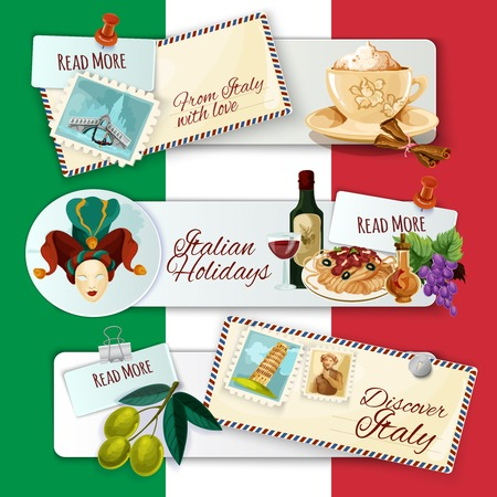 wine and food: Italy horizontal banners set with cartoon touristic elements and holiday postcards on flag background isolated vector illustration