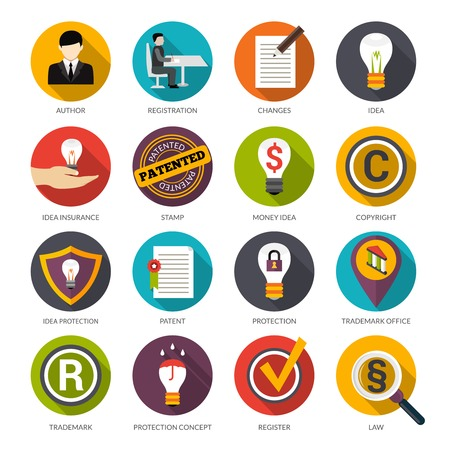 proteccion: Iconos planos idea de protección de la patente establecen con símbolos de copyright autor marca aislado ilustración vectorial