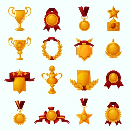 golden ribbons: Golden award cups and champion shields with ribbons cartoon icons set isolated vector illustration Illustration