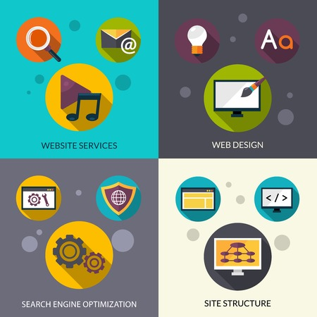 web services: Web design concept set with website services search engine optimization flat icons isolated vector illustration