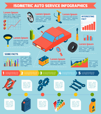 consumables: Auto service repair parts and consumables with statistics and stages isometric infographics vector illustration