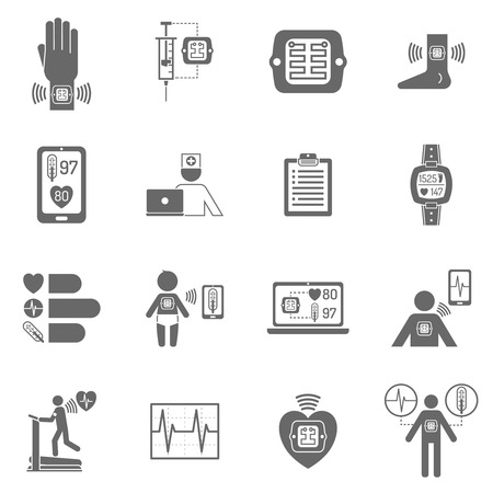 diffusion: Black and white wearable smart electronic patch isolated flat icons vector illustration
