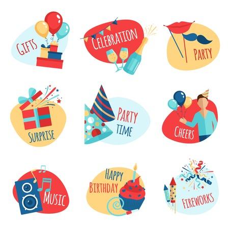 auguri di buon compleanno: Emblemi di partito insieme con i regali di celebrazione e musica simboli illustrazione vettoriale isolato