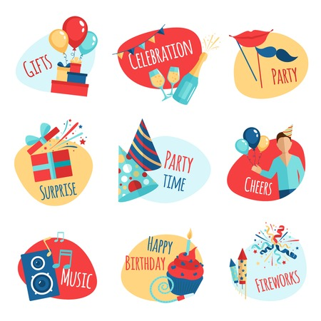 gift: Party emblems set with gifts celebration and music symbols isolated vector illustration