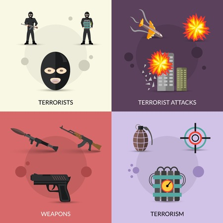 war crimes: Terrorism design concept set with terrorist attacks and weapons flat icons set isolated vector illustration Illustration