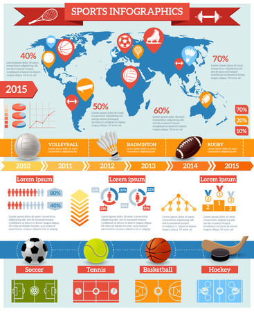 game equipment: Sport infographics set with game equipment world map and charts vector illustration