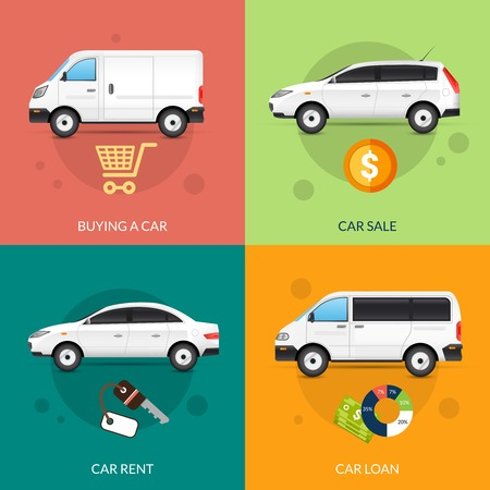 car rent: Car rent and sale design concept set with flat auto icons isolated vector illustration