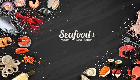 almeja: Fondo de mariscos con gambas de pescado y sushi delicadeza ilustración vectorial