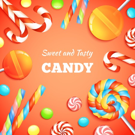 caramel candy: Sweets background with realistic candies lollipops and bonbons vector illustration Illustration