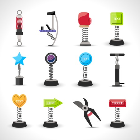 metal spring: Metal spring devices set with shock absorber and bounce spiral isolated vector illustration Illustration