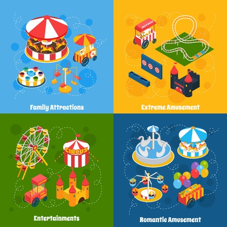 amusement park rides: Amusement park isometric set with family attractions extreme and romantic entertainment isolated vector illustration