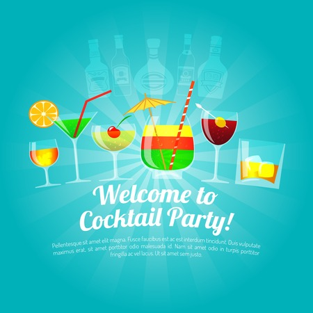 cocktail glasses: Alcohol drinks poster with flat colorful cocktail glasses vector illustration Illustration