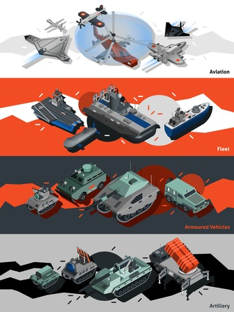 Military equipment horizontal banners set with isometric aviation fleet artillery elements isolated vector illustration