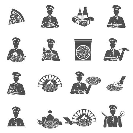 Fabricante de la pizza en el restaurante iconos negros planos establece ilustración vectorial aislado