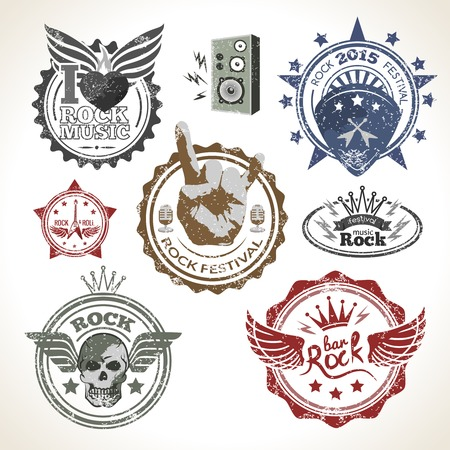 grunge metal: Rock and roll music festival symbols and stamps set isolated vector illustration Illustration