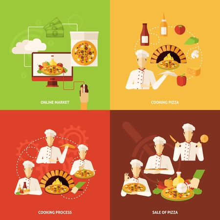 bake: Full process of pizza order making and sale flat icons set isolated vector illustration