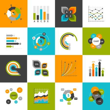 Different types of business charts and infographs icons set isolated vector illustration Illustration