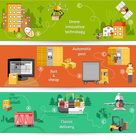 Nieuwe pakket leveren met drone innovatieve technologie logistieke dienstverleners oplossingen horizontale banners set abstracte geïsoleerd vector illustratie